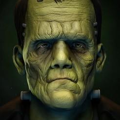 Download 3D printer templates The Frankenstein's monster bust , vinicius_cardoso