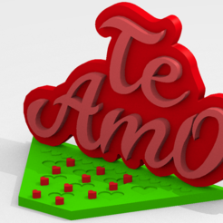 te amo1.PNG Download STL file STAND CELL PHONE TE AMO - CELL PHONE HOLDER • 3D printer template, RMMAKER