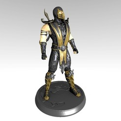 Scorpion MK9 Statue 2020 by PDesigner v2.jpg Download STL file Mortal Kombat 9 Scorpion figure with MK Keychain • 3D print design, PDesigner