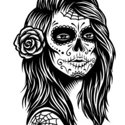 Download STL files skull girl lithophane, hunterrrwlodarczyk