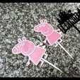 peppa topper.jpg Télécharger fichier STL gratuit Topper Peppa Gâteau de porc - gâteaux - anniversaires - souvenirs • Plan imprimable en 3D, Abayarde