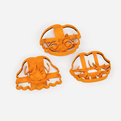 harry potter x3 pack.png Descargar archivo STL gratis Harry Potter cookie cutter set x3 - cortantes de galletas x3 unidades • Plan imprimible en 3D, Abayarde