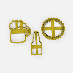 Download free 3D print files Beer Chop bottle cap cookie cutter set x3 - Beer Cutter, bottle and bottle cap set x3, Abayarde