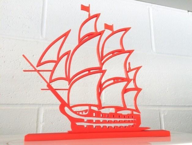 barco modelo 3d silueta grande.jpg Download free STL file boat model 3d silhouette • 3D printing template, Abayarde