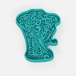 Download free 3D printer files mandala elephant vintage cookie cutter, Abayarde