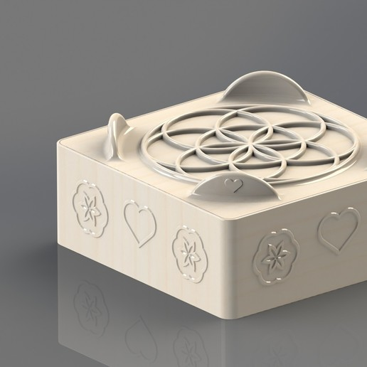 Download free 3D printing designs jewelry box - flower of life - love, SG3D