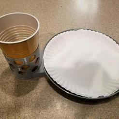 Download free STL files Paper plate and plastic cup holder, KarnageKing