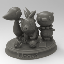 pokemon stand.png Download STL file Unova starting region Pokemon black and white diorama • 3D printable design, KarnageKing