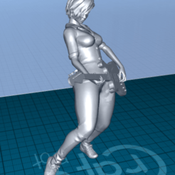 Download free 3D printing designs pretty woman with a guitar, 1001thing3d