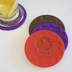 Download free 3D printer model THANKSGIVING – HAPPY THANKSGIVING COASTER, Glamarune