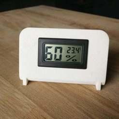 "Download free 3D printing templates 1,5"" Digital Thermometer Hygrometer holder, Aralana"