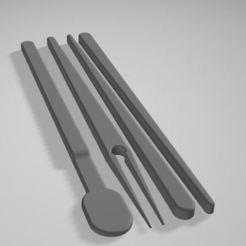 Complete.JPG Télécharger fichier STL gratuit Baguettes + Fourchette + Cuillère à glace • Objet pour imprimante 3D, Printcible