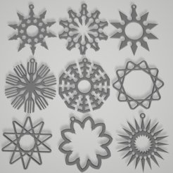 snow01-09.PNG Télécharger fichier STL Flocons de neige et étoiles • Plan imprimable en 3D, Printcible