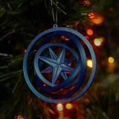 melynas.-kompasas.jpg Télécharger fichier STL Décoration de l'arbre de Noël - Boussole - Gyroscope 3D • Objet à imprimer en 3D, lkesiunas