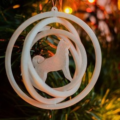 Gyro 80 - shiba inu 2.jpg Télécharger fichier STL Décoration de l'arbre de Noël - Chien Shiba inu - Gyroscope 3D • Objet pour imprimante 3D, lkesiunas
