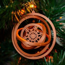 3D žaisliukas L - varinė.jpg Download STL file Christmas tree ornament - Snowflake - 3D gyroscope • 3D print model, lkesiunas