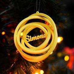 geltonas.vardas.jpg Télécharger fichier STL Jouet d'arbre de Noël - Nom personnalisé - Gyroscope 3D • Objet imprimable en 3D, lkesiunas