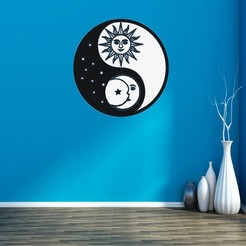 542586.jpg Download STL file YIN YANG -SUN AND MOON • 3D printer design, mistic-3d
