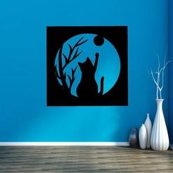 Download free 3D print files CAT AND MOON, mistic-3d