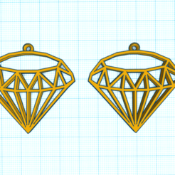 CapturaHGJHGHG.PNG Download STL file DIAMOND 1 EARRINGS • Model to 3D print, mistic-3d