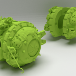 KrootBallRender1.png Download free STL file Kroot Ball, count as Tau Devilfish transport • 3D printer object, FelixTheCrazy