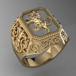Download 3D printer model signet ring with heraldic lion   , sergotall1977