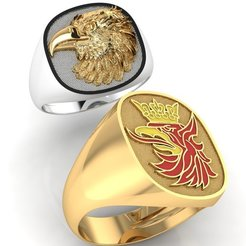 123.jpg Download STL file mens ring with eagle head two options   • 3D print design, sergotall1977