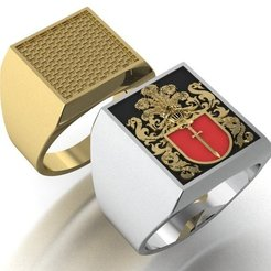 1.jpg Download 3DS file signet ring with heraldic • 3D print template, sergotall1977