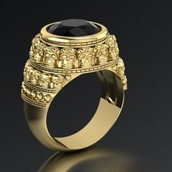 23.jpg Download 3DS file signet ring with sculls • Model to 3D print, sergotall1977