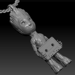 6.jpg Download STL file  pendant  Groot with compact cassette  • 3D print model, sergotall1977