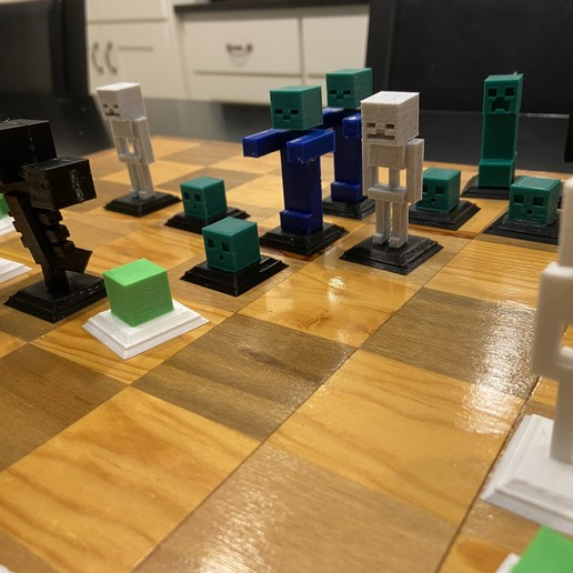 2020-01-20_01.01.04.jpg Download free STL file Complete Minecraft Chess Set • Model to 3D print, Hardcore3D