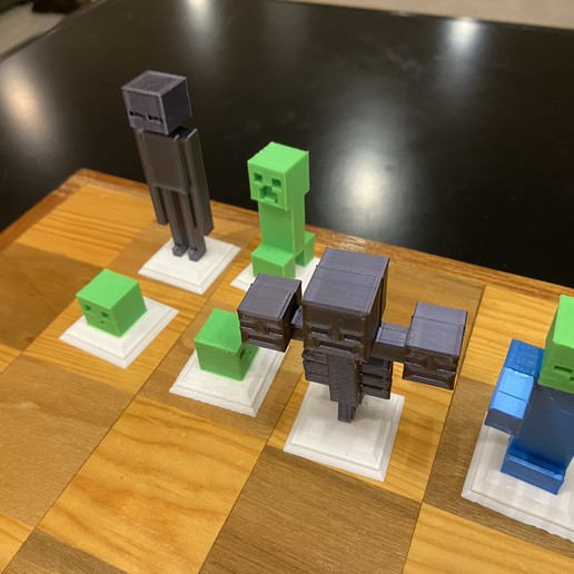 2020-01-20_01.00.54.jpg Download free STL file Complete Minecraft Chess Set • Model to 3D print, Hardcore3D