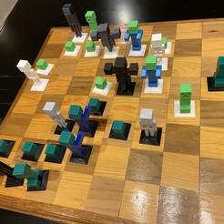 2020-01-20_01.00.50.jpg Download free STL file Complete Minecraft Chess Set • Model to 3D print, Hardcore3D