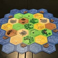 Download free 3D printing models Complete Catan Tile Set - Single Nozzle, Multi-color Layers, Hardcore3D