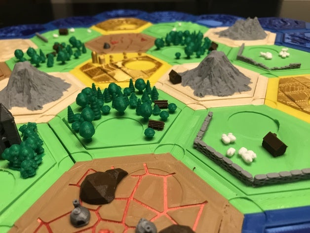 featured_preview_2019-09-02_01.43.55.jpg Download free STL file Complete Catan Tile Set - Single Nozzle, Multi-color Layers • 3D printing model, Hardcore3D