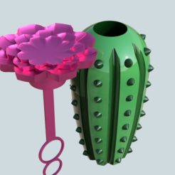 Free 3D printer designs Cactus Reusable soap bubble bottle, fewlings