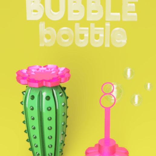 Download free STL Cactus Reusable soap bubble bottle, fewlings