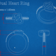 Download free 3D printer designs Heart Shape Dual Ring, KhatriCad