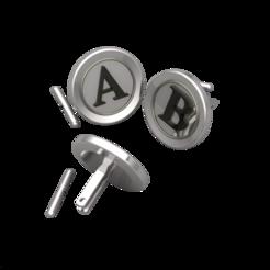 Télécharger modèle 3D Boutons de manchette Toutes les lettres Alphabets, Khatri3D