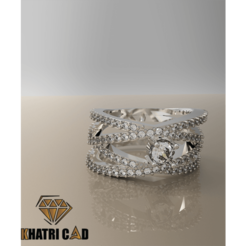 Download 3D printer model Spiral Ring with Gemstones, KhatriCad