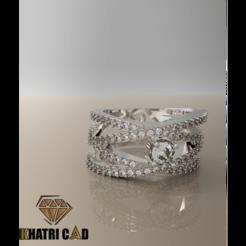 Descargar modelos 3D Anillo espiral con piedras preciosas, Khatri3D