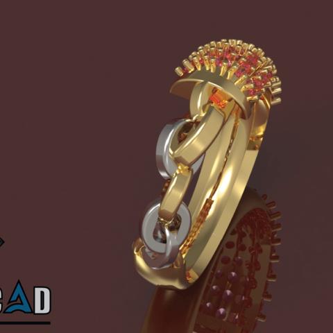 4.png Télécharger fichier OBJ gratuit Bague de Chaîne avec Pierres Gemmes • Design pour impression 3D, Khatri3D