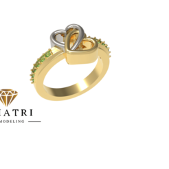 Download free 3D printer designs Heart Shape Dual Ring, Khatri3D
