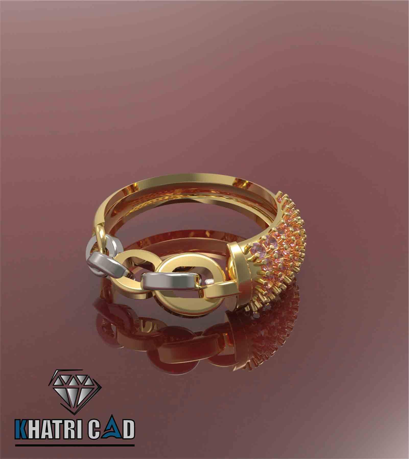 x.jpg Télécharger fichier OBJ gratuit Bague de Chaîne avec Pierres Gemmes • Design pour impression 3D, Khatri3D