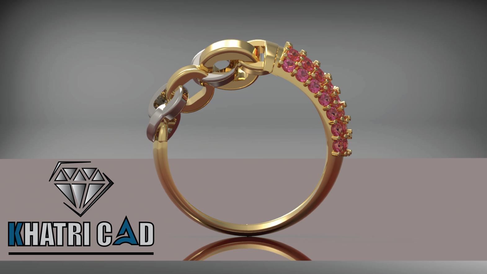 3.png Télécharger fichier OBJ gratuit Bague de Chaîne avec Pierres Gemmes • Design pour impression 3D, Khatri3D