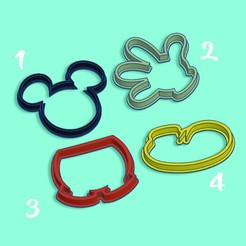 A.jpg Télécharger fichier STL Mickey Mouse - Jeu de 4 coupe-biscuits • Plan pour impression 3D, StratOasiS