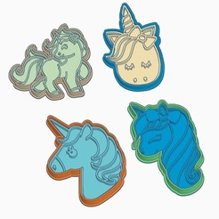 A.jpg Download STL file UNICORN COOKIE CUTTERS (SET OF 4) • 3D printer object, StratOasiS