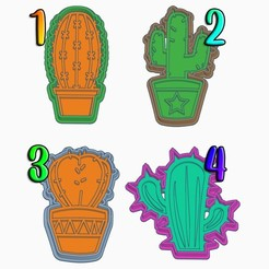 Download 3D printer designs Cactus Cookie Cutters (Set of 4), StratOasiS