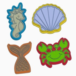 A.jpg Download STL file UNDER THE SEA Cookie Cutter (SET OF 4) • Object to 3D print, StratOasiS