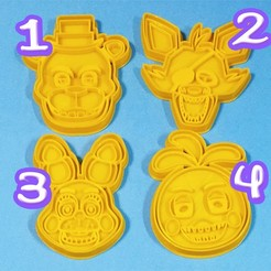 Download 3D printing files FIVE NIGHTS AT FREDDY'S COOKIE CUTTERS (SET OF 4), StratOasiS